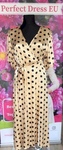 Tečkované zlaté šaty s páskem v pase s černými puntíky VEL. ML