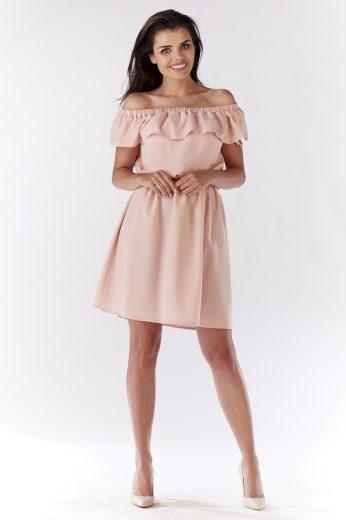 Letní růžové šaty s volánem a odhalenými rameny VEL. L(40)