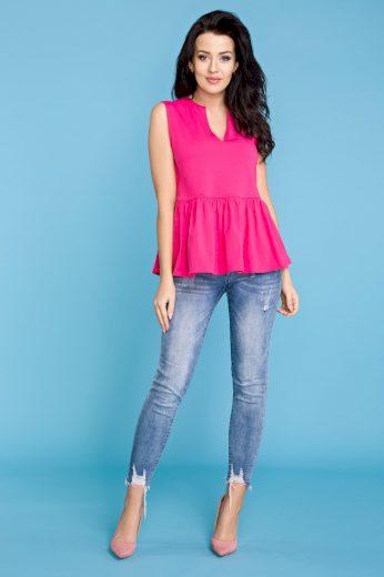 Letní dámská tunika růžová se širokými ramínky a volánkem