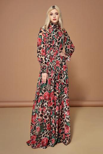 Originální hedvábné šaty maxi dlouhé s potiskem růží dlouhý rukávy
