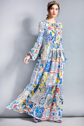 Vintážní boho šaty z pravého hedvábí maxi s barevným potiskem
