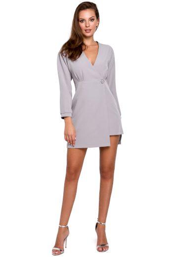 Elegantní sakové šedé šaty zavinovací šaty na jeden knoflík VEL. S(36)
