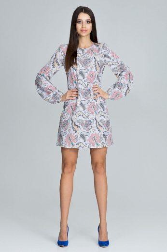 Letní krátké šaty šedé s krásnými květinovými vzory VEL. M(38)