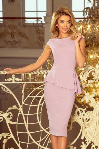 Midi šaty růžové s asymetrickým lemem a volánem VEL. L(40)
