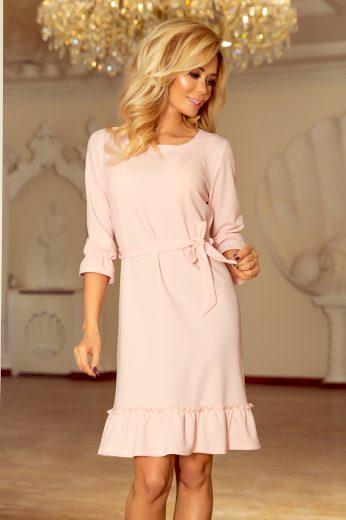 Pohodlné růžové šaty s volánky a vázáním v pase VEL. L(40)