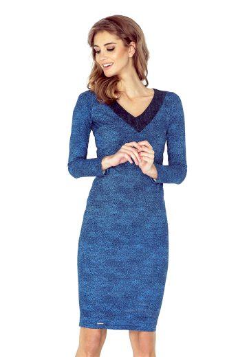 Elegantní džínové šaty pouzdrové s výstřihem do V - VEL. S
