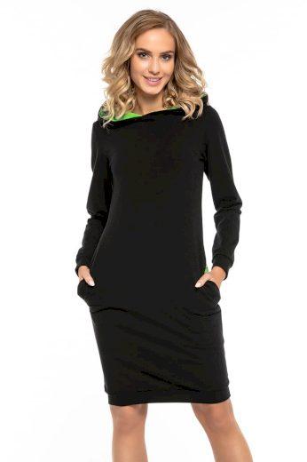 Černé sportovní plášťové šaty s kapucí z bavlněného úpletu