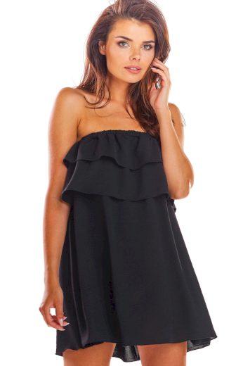 Mini černé Šaty s volánky šaty bez ramínek holá ramena VEL. S/M