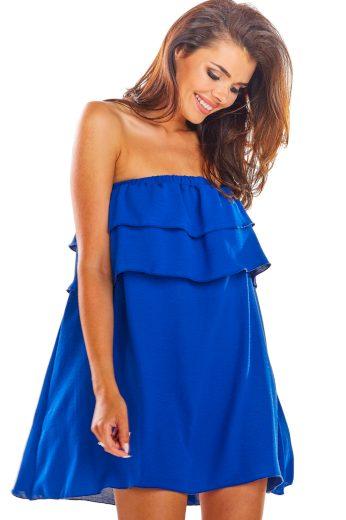 Mini modré Šatys volánky šaty bez ramínek holá ramena VEL. S/M