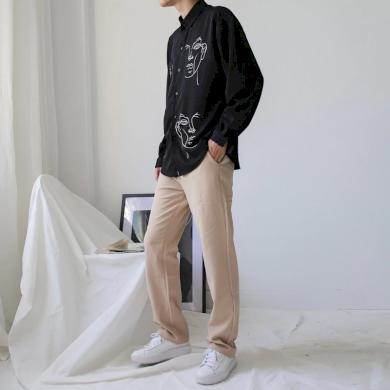 Modní košile oversize se vzorem ve tbaru obličeje