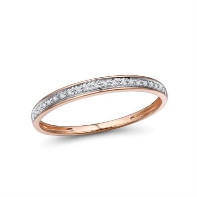 Třpytivý zlatý prsten 14 karátů 585/1000 s diamanty
