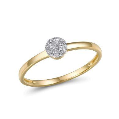 Zásnubní Prsten snubní z pravého zlata s lesklými diamanty