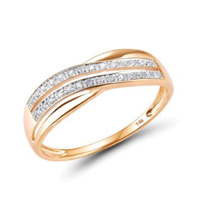 Masivní zlatý prsten s třpytivými diamanty