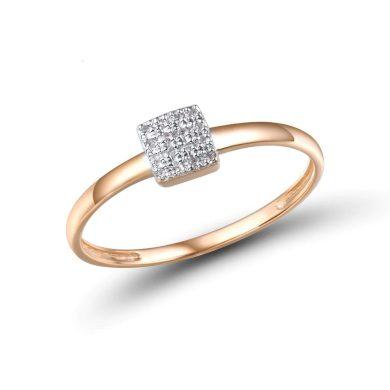 Prsten v minimalistickem designu ve tvaru čtverce s diamanty