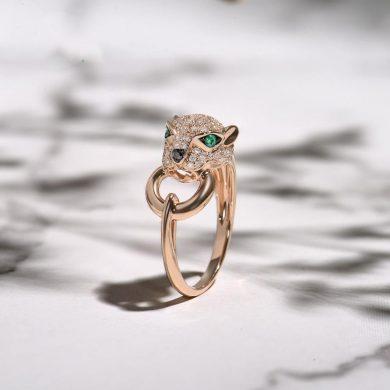 Vyjímečný zlatý prsten se zvířecím vzorem leopardní hlava s diamanty