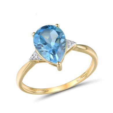 Snubní zlatý prsten s velkým topazem a diamanty