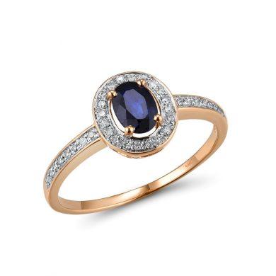 Vintážní prsten s třpytivými diamanty a velkým safírem