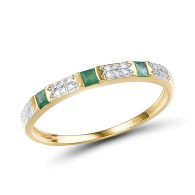 Stylový prsten ze žlutého zlata se smaragdy