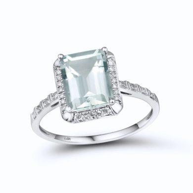 Stylový prsten z bílého zlata s ametystem a diamanty