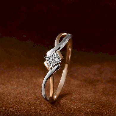 Minimalistický snubní zlatý dvoubarevný prsten