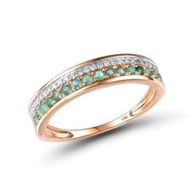 Pravý zlatý prsten s diamatvy a s rubíny
