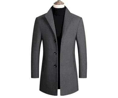 Klasický pánský kabát vlněný kabátek s límcem a zapínáním na knoflíky