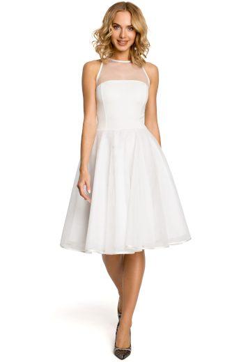 Áčkové bílé šaty společenské s průhledným tylem a mašličkou - S/M