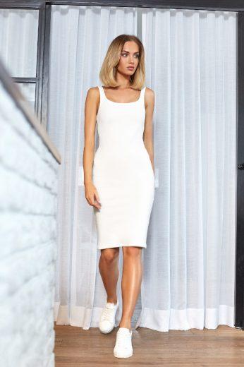 Letní bílé šaty na ramínka zeštíhlující postavu pouzdrový střih (M)