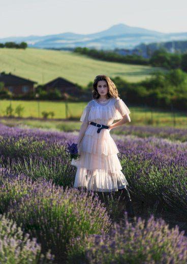 Tylové midi šaty společenské volánkové šaty s krátkým rukávem
