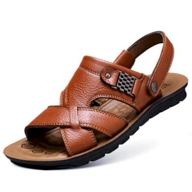 Pánské černé kožené sandály gladiátorky