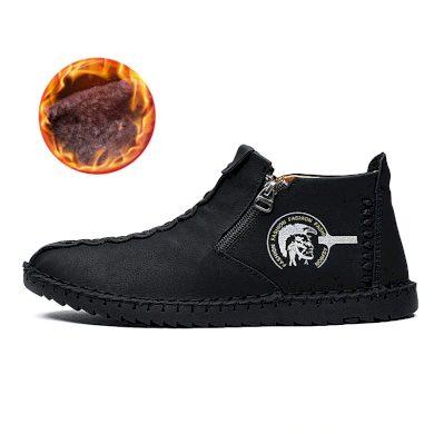 Pánské kotníkové zimní boty na zip hnědé