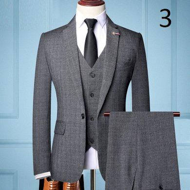 Pánský oblek vesta sako a kalhoty šedé barvy
