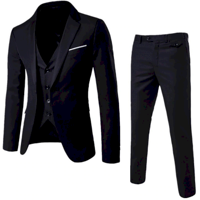 Pánský společenský komplet černý sako vesta a kalhoty pánský oblek