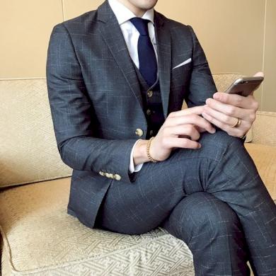 Pánský formální oblek se vzorem modrý vesta sako a kalhoty