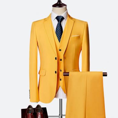 Pánský klasický oblek do práce kvalitní pánský set sako, vesta a kalhoty