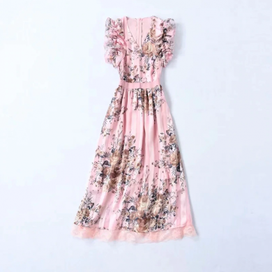 Společenské květované šaty s véčkovým výstříhem