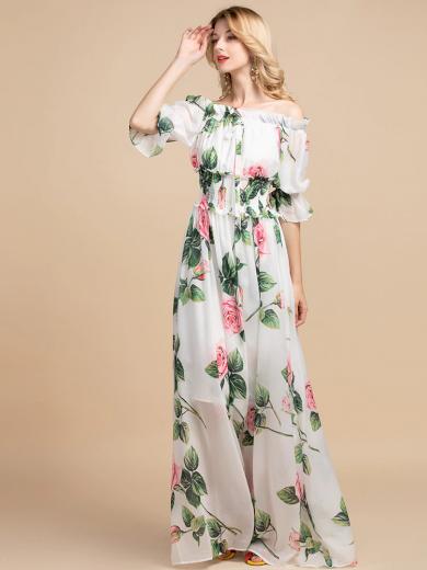Nádherné květované maxi šaty s lodičkovým výstřihem
