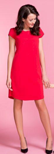 Dámské červené šaty s mašlí na zádech z měkké pleteniny VEL. S