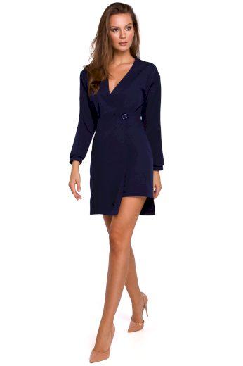 Elegantní sakové šaty modré zavinovací šaty na jeden knoflík - VEL. M