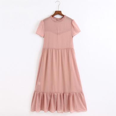 Vintážní puntíkované šaty midi jemné barvy