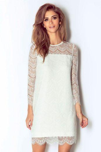 Romantické krajkové šaty mini délka s dlouhým rukávem