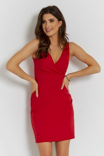 Sexy červené šaty s výstřihem šaty na večer a rodinné oslavy - S