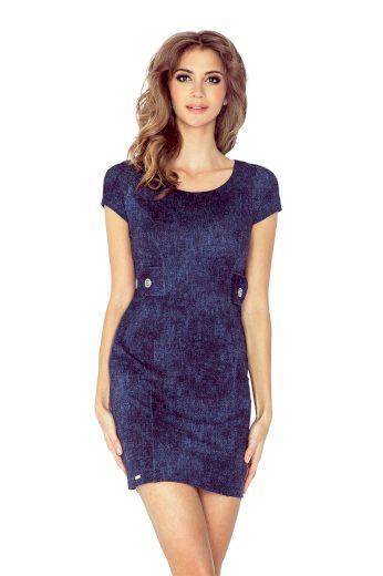 Džínové šaty denim tmavě modré s krátkým rukávem - VEL. XS