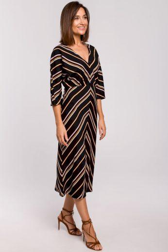 Elegantní černé šaty pruhované s 3/4 rukávy a výstřihem - VEL. M