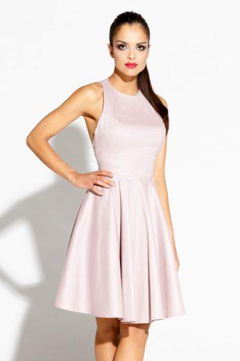 Růžové Šaty bez rukávů z lesklýho materiálu s vykrojenými zády - VEL. S