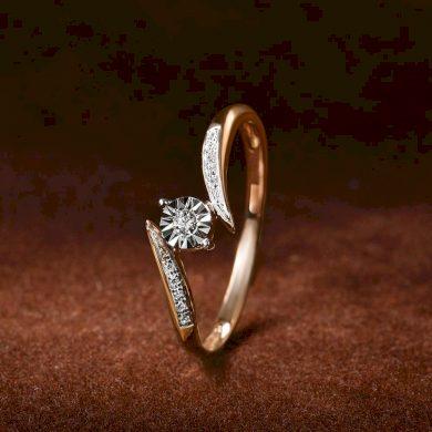 Originální zlatý prsten s třpytivými diamanty