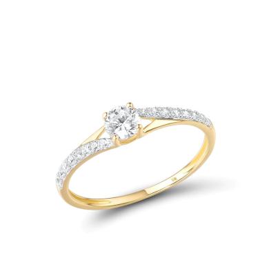 Minimalistický třpytivý dámský snubní prsten se zirkony