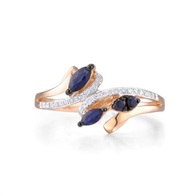 Originální dvojíty prsten se safíry