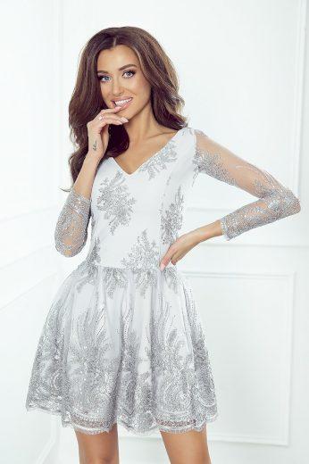 Společenské stříbrné šaty z guipure krajkou s třpytivým vzorem - S