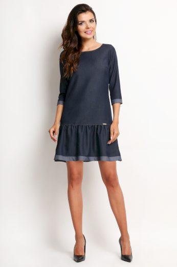 Mini denim šaty džínové s 3/4 rukávy a kulatým výstřihem - VEL. XL